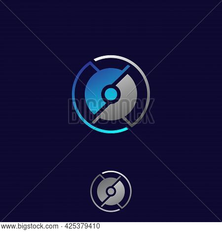 Modern Circle Tech Symbol Design Template. Round Tech Digital Technology Symbol Design Icon. Vector