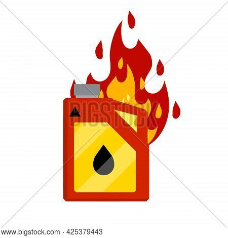 Canister With Fuel. Red Gas Tank. Container With Oil. Flammable Object. Danger And Fire. Dangerous F
