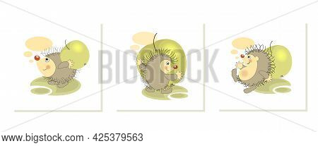 Green Apple. Cute Hedgehogs. Set Sticker, Badge, Sticky Label With Quote Lovely Funny Character.