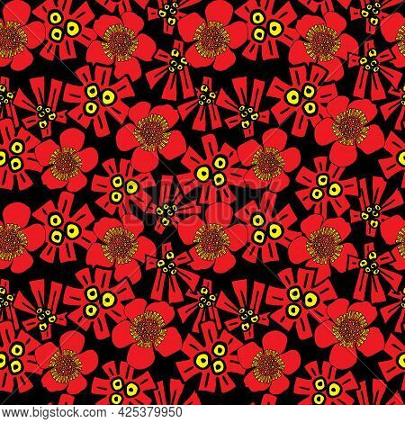 Red Wildflowers Folk Style Seamless Vector Pattern
