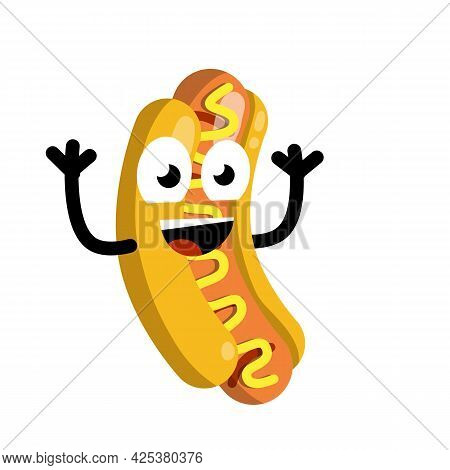 Hot Dog On Plate. Funny Face. Smile And Eye. Delicious Bun. Bread, Sausage, Ketchup. Icon Harmful Di
