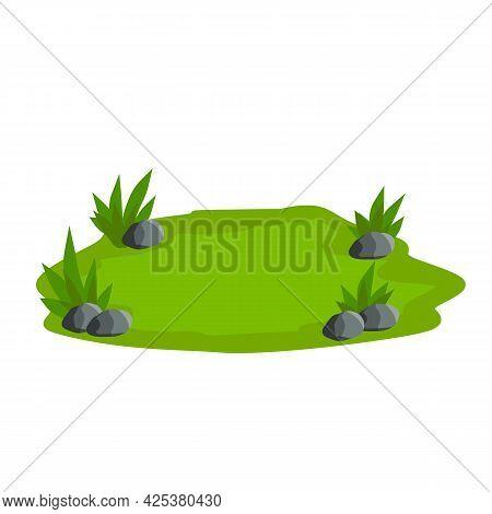 Landscape With Grass, Stones. Lawn, Sward And Greensward. Flat Cartoon. Platform And Ground. Element