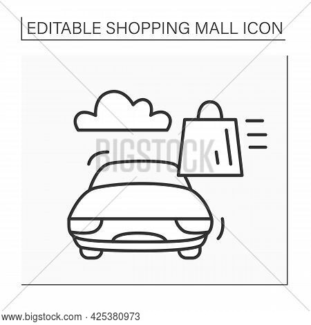 Curbside Pick-up Line Icon. Safe Way To Pick Up Orders From Select Restaurants. Online Ordering. Saf