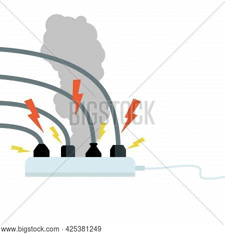Electrical Circuit. Shock, Red Lightning And Yellow Sparks From The Outlet. Connector And Plug. Syst