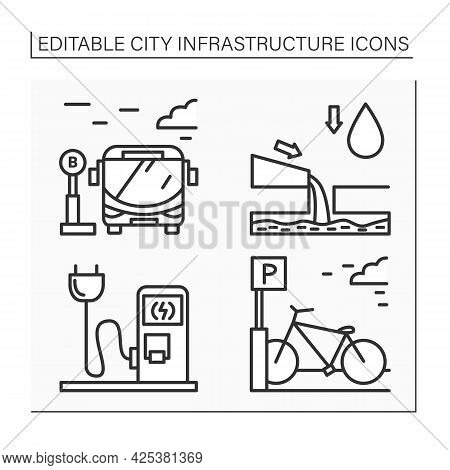 City Infrastructure Line Icons Set. Bicycle Parking, Charging Station, Bus Stop, Drainage. Industria