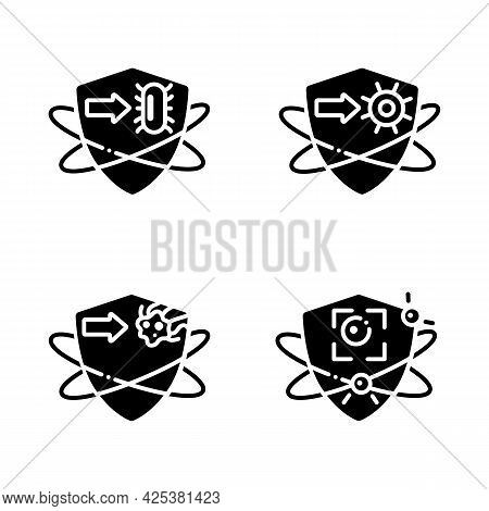 Immune System Glyph Icons Set. Immunology Concept. Bacteria And Virus Fight, Cancer Calls. Health, I