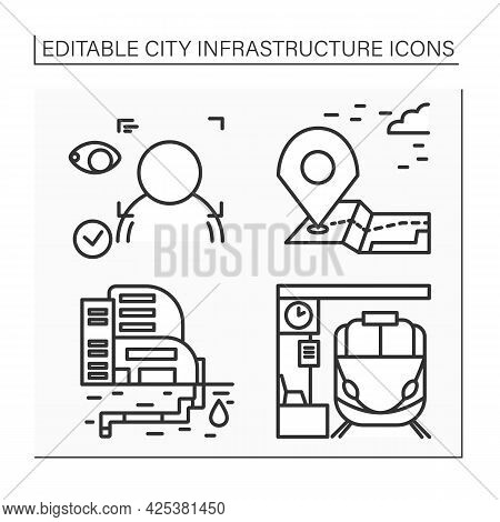 City Infrastructure Line Icons Set.landmark, Face Recognition, Railway Station, Water Supply. Indust