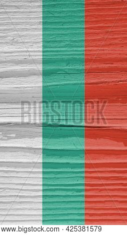 The Flag Of Bulgaria On Dry Cracked Wooden Surface. It Seems To Flutter In The Wind. Vertical Mobile