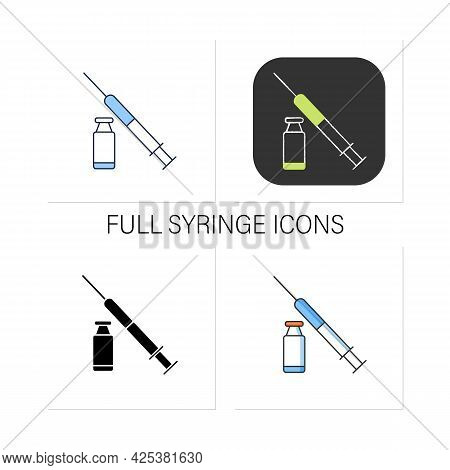 Cosmetic Injection Icons Set.medicine Vial And Syringe. Full Vial. Beauty Injections. Mini-surgery.