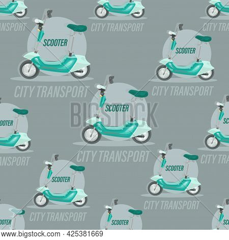 Electric Green Scooter. Background Image. Fast For Food Delivery. Vector Motorcycle. Trendy Cooter