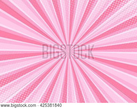 Pink Comic Background With Halftone. Pop Art Style Effect, Cartoon Comic Background With Lightning B