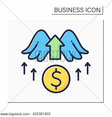 Angel Investor Color Icon. Investors Invest Money Into New Startup Ideas. Profitable Investment. Bus