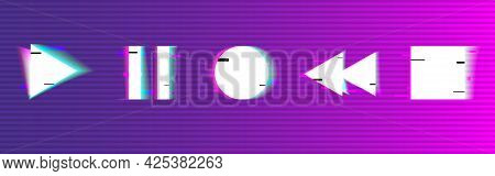 Glitch Buttons Set. Play, Stop, Pause, Rewind. Digital Playback Buttons. Abstract Modern Elements. D