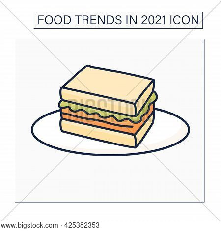Sandos Color Icon. Japanese Style Fried Pork Sandwich. Snack. Fast Food. Food Trends Concept. Isolat