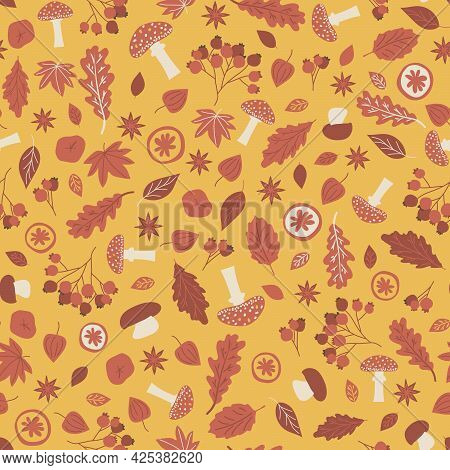 Red Yellow Forest Elements Seamless Pattern. Vector Illustration Consists Of Leaves Oak Maple Aspen
