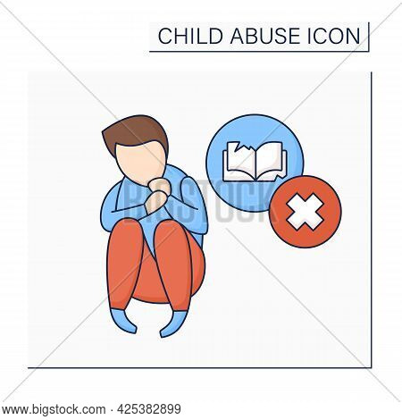 Educational Neglect Color Icon. Failing To Provide Basic Needs With Regards To Schooling, Education.