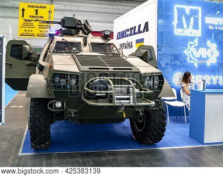 Armored Car. Ukrainian-made Oncilla Armored Vehicle At The International Exhibition Arms And Securit