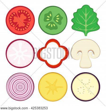 Round Vegetable Halves Vector Icons Isolated On White Background, Fresh Radish, Onion, Tomato, Cucum