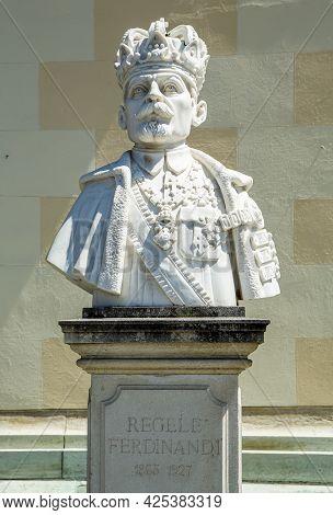 Alba Iulia, Alba, Romania -  May 11, 2021: Statue Of King Ferdinand I, King Of Romania, In Front Of