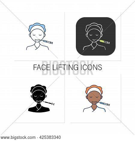 Cosmetic Injection Icons Set.face Lifting.smile.form Correction. Rejuvenation. Full Syringe. Beauty
