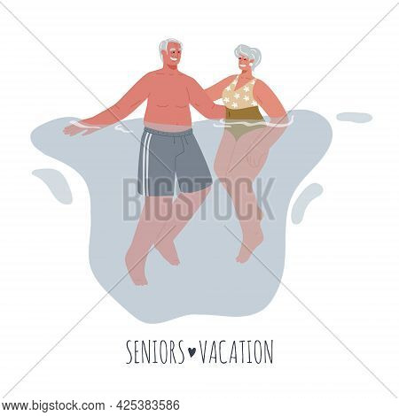 Two Elderly People In Bathing Suits Floating In The Water.older People On Vacation At Sea.vector Fla