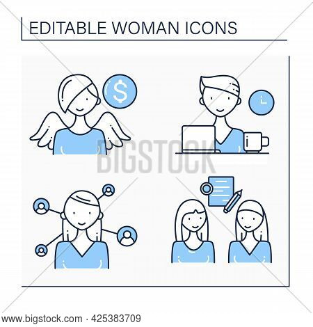 Woman Line Icons Set. Networking, Angel Investor, Business Deal, Freelancer. Successful Woman Concep