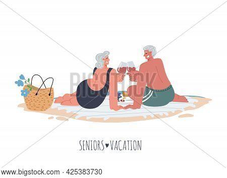 Elderly Woman And Man Make A Sea Shore Picnic On The Beach Blanket Drinking Wine.vector Flat Illustr