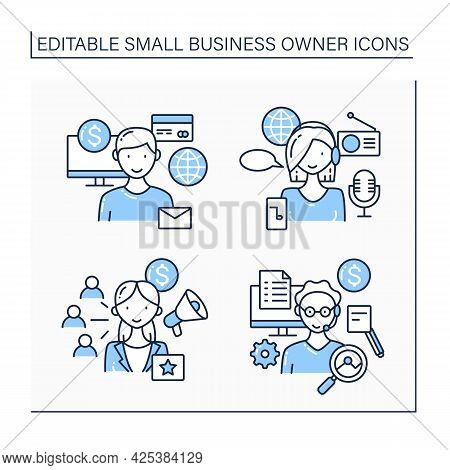 Small Business Owner Line Icons Set. Podcaster, Virtual Assistant , Ecommerce Business, Affiliate Ma