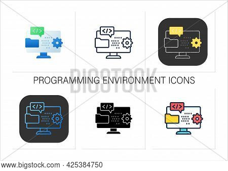 Programming Environment Icons Set. Creating New Software. Operation System On Laptop. Website Progra
