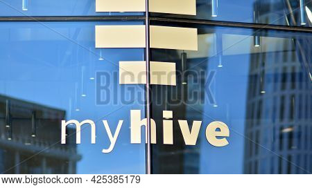 Warsaw, Poland. 29 June 2021. Sign My Hive. Company Signboard  My Hive.