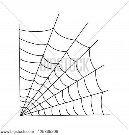 Cobweb Corner Isolated On White Background. Spider Web Icon. Design Element For Halloween Party Deco