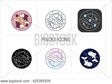 Pisces Icons Set. Twelfth Fire Sign In Zodiac. Fish Birth Symbol. Horoscope Sign Template. Astrologi