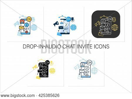 Drop-in-audio Chat Invite Icons Set. Communication Application With Friends.invitation Link. Invite