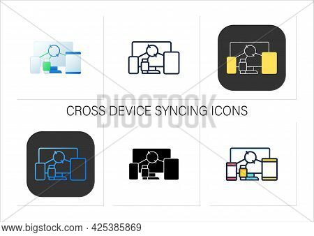 Cross Device Syncing Icons Set.synchronizing All Information In Different Devices. All Devices Work