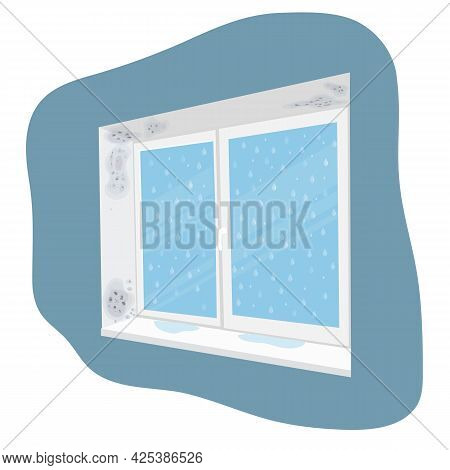 Mold On A Wet Window In The House. Fungus Formation Due To Damp. Vector Cartoon Illustration.