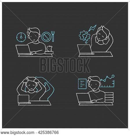 Workaholic Chalk Icons Set. Workaholism Prevention, Consequences. Depersonalization, Counterproducti
