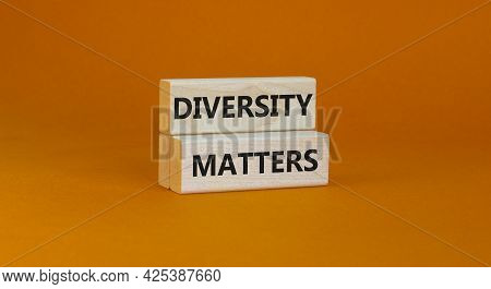 Diversity Matters Symbol. Wooden Blocks With Words 'diversity Matters' On Beautiful Orange Backgroun