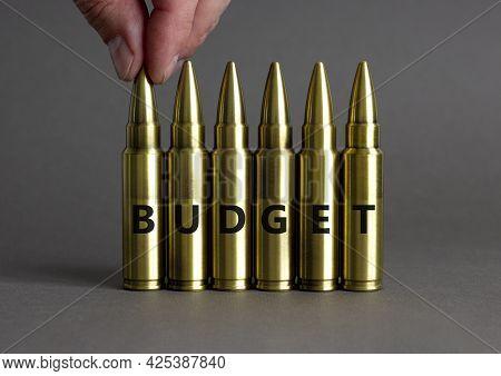Budget Symbol. Ammunitions Imitation With The Word Budget. Beautiful Grey Background, Copy Space. Bu