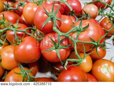 Freshly Harvested Tomatoes With Their Green Stalks On Display For Sale In A Local Greengrocer Store.