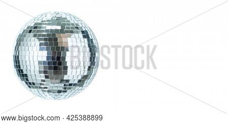 Shining Disco Ball dance music event equipment isolated on white background