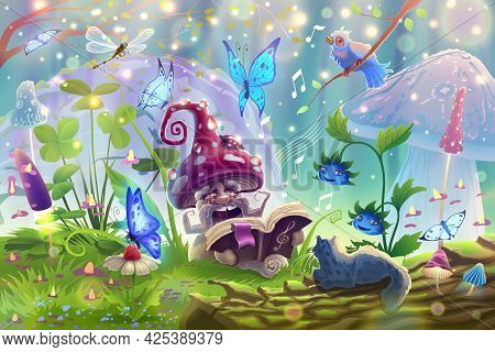 Mushroom In Magic Forest With Fantasy Wild Animals In Summer Garden Landscape Sings A Song Among The