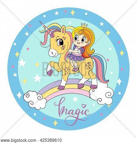 Cute Cartoon Girl Ride On The Back Of A Unicorn On A Rainbow. Vector Illustration Circle Shape On Bl