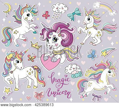 Set Of Cute Cartoon Unicorns And Magic Elements. Vector Isolated Illustration. For Print, Stickers,
