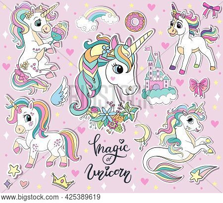 Set Of Cute Cartoon Unicorns And Magic Elements. Vector Isolated Illustration. For Sticker Pack, Pri