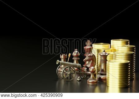 Old Rusted Cannon On Carriage And Cannonballs Are Placed Next To It. There Are Chess And Gold Coins
