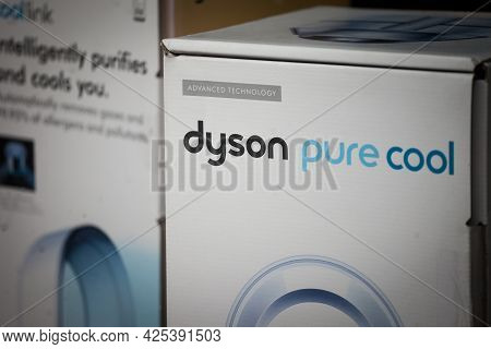 Belgrade, Serbia - May 3, 2021: Selective Blur A Dyson Logo On A Pure Cool Vacuum Cleaner. Dyson Is