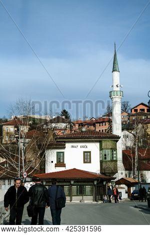 Sarajevo, March 29, 2010: Selective Blur On Inat Kuca Restaurant And Minaret Of Hadzijska Dzamija Mu