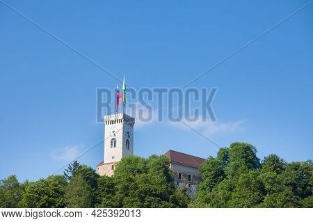 Outlook Tower, Also Called Viewing Tower Or Razgledni Stolp, Taken From Downhill In Ljubljana Castle