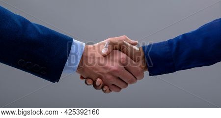 Caucasian and african american business people shaking hands, isolated on grey background. business technology, communication and growth concept.