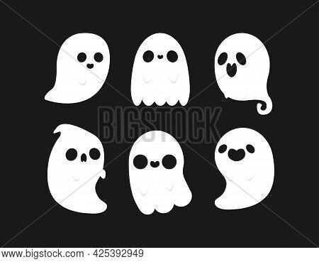 Little Cute Ghosts Collection, Happy Halloween Set Of Flat Halloween Scary Ghostly Monsters. Cartoon